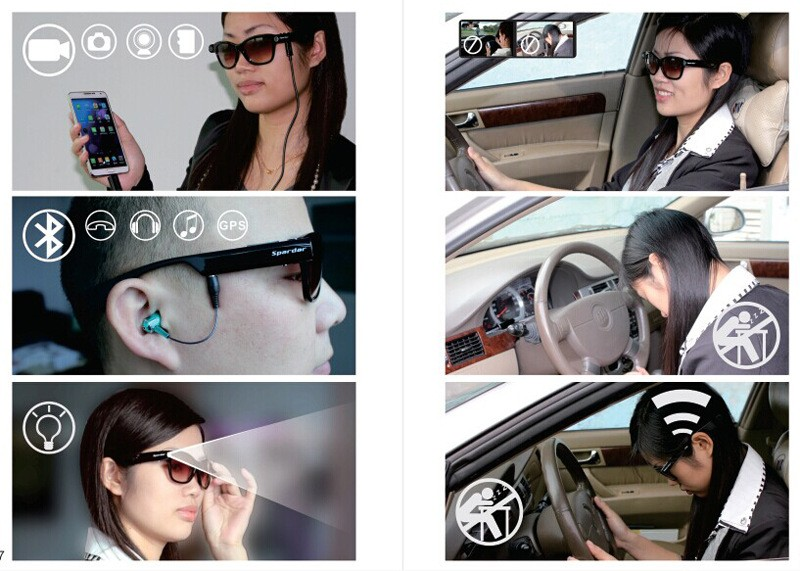 WiFi connection smart glasses similar as snapchat spectacles save video and photo to mobile directly