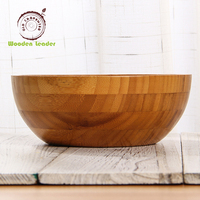 Newest hot sell round high quality Eco-friendly large bamboo wood acacia salad bowl