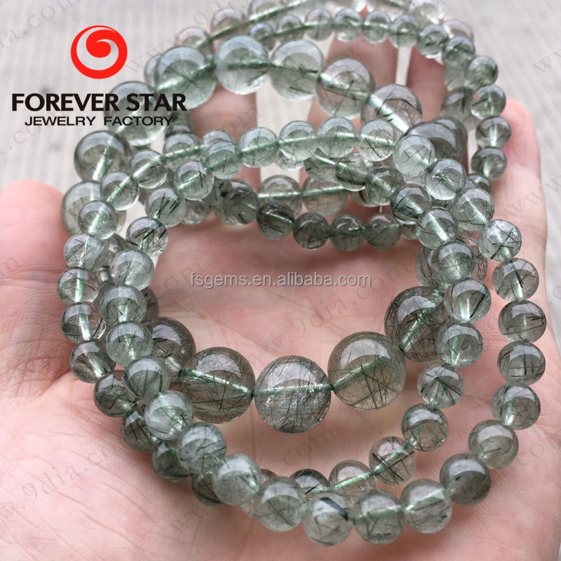 Wholesale Natural Round Green Quartz Bracelet Rutilated Quartz Crystal Beads 3A