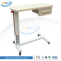 MINA-CB002 ABS plastic mobile and portable hospital bed table with drawer