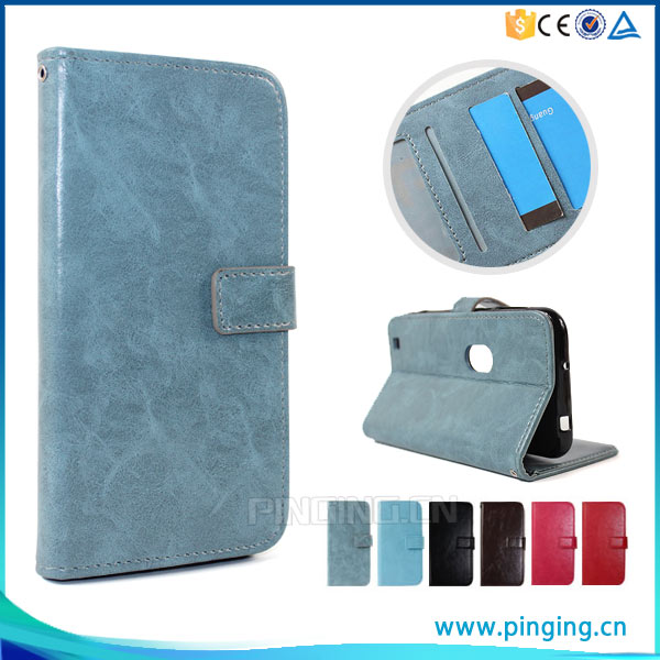 low price crazy horse texture mobile flip cover for Sony Xperia L1, leather back cover for Sony Xperia L1