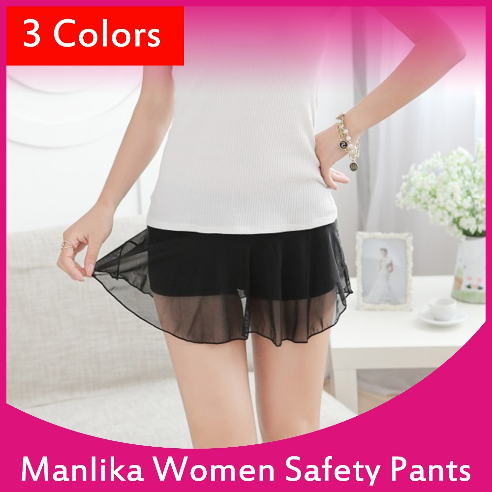 New Summer Transparent Gauze Modal Safety Underwear Culottes Skirt Leggings Girl Safety Underwear 148