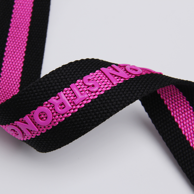 New 1.5 inch bead weaving printing cotton webbing strap with heat stamp silicon printing