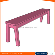 kids simple pink solid wood bench