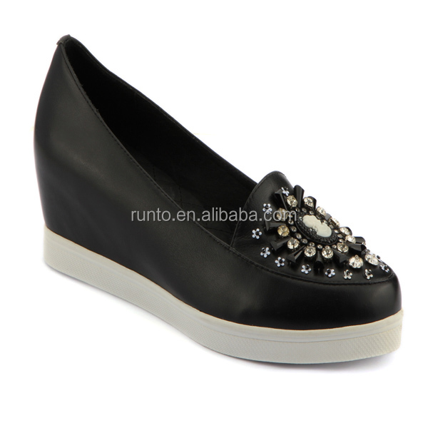 Custom rubber sole lady casual shoes black leather casual height increasing shoes with bead Calf leather footwear shoes women