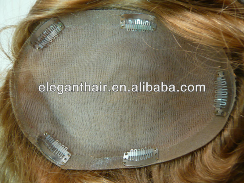 100% human hair full silk top women toupee