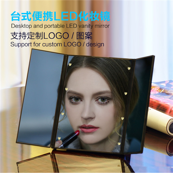 Fire-Wolf character smart mirror manufacturers Novelty make up mirror with led light glass make up mirror