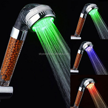 2017New model LED Shower Head without battery and wire Round LED Shower Head Handheld Shower Head