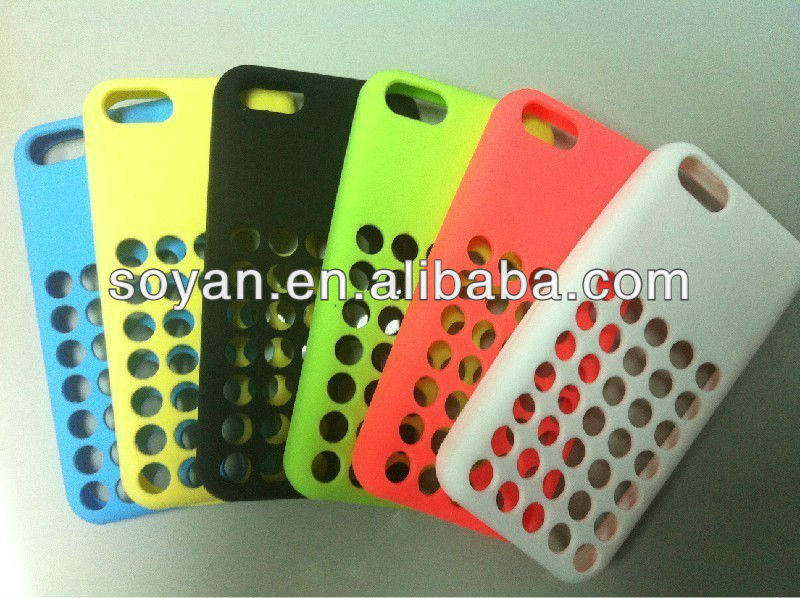 Newly arrival Official Colorful Soft Silicone cases for IPhone 5c with hole cover