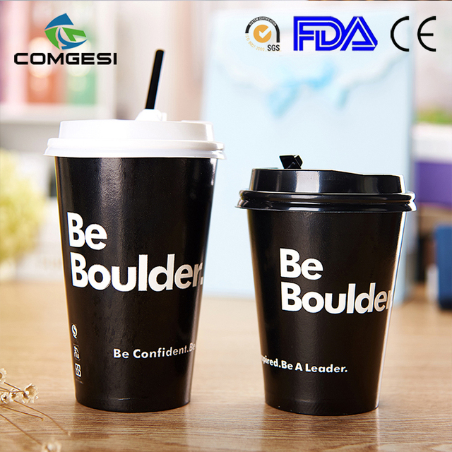 logo printed biodegradable hot drink cup fashion design factory price with lid sleeve cover colorful new design free sample