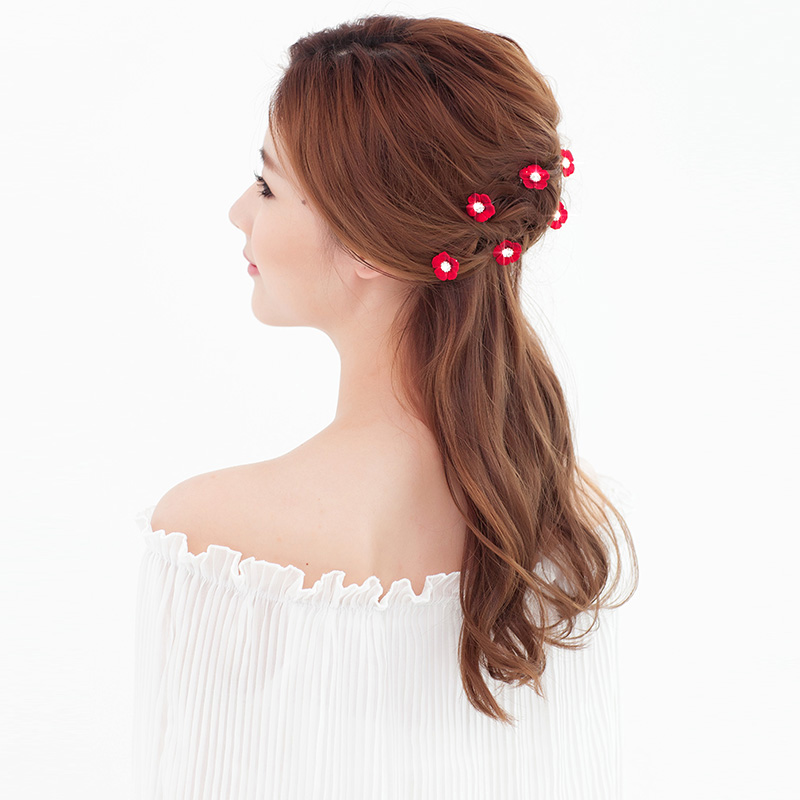 Chinese Style Red Flowers Bridal Headdress Hairpin Hair Jewelry Accessories