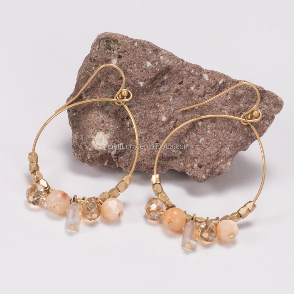 Faceted Vintage Gold Seed Beads Antiqued Brass Large Circle earrings,gold brass beaded hoops