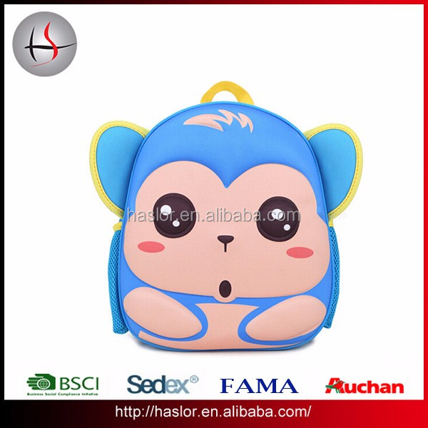 3D Kids EVA animal cute monkey picture for toddler kids school backpack bag