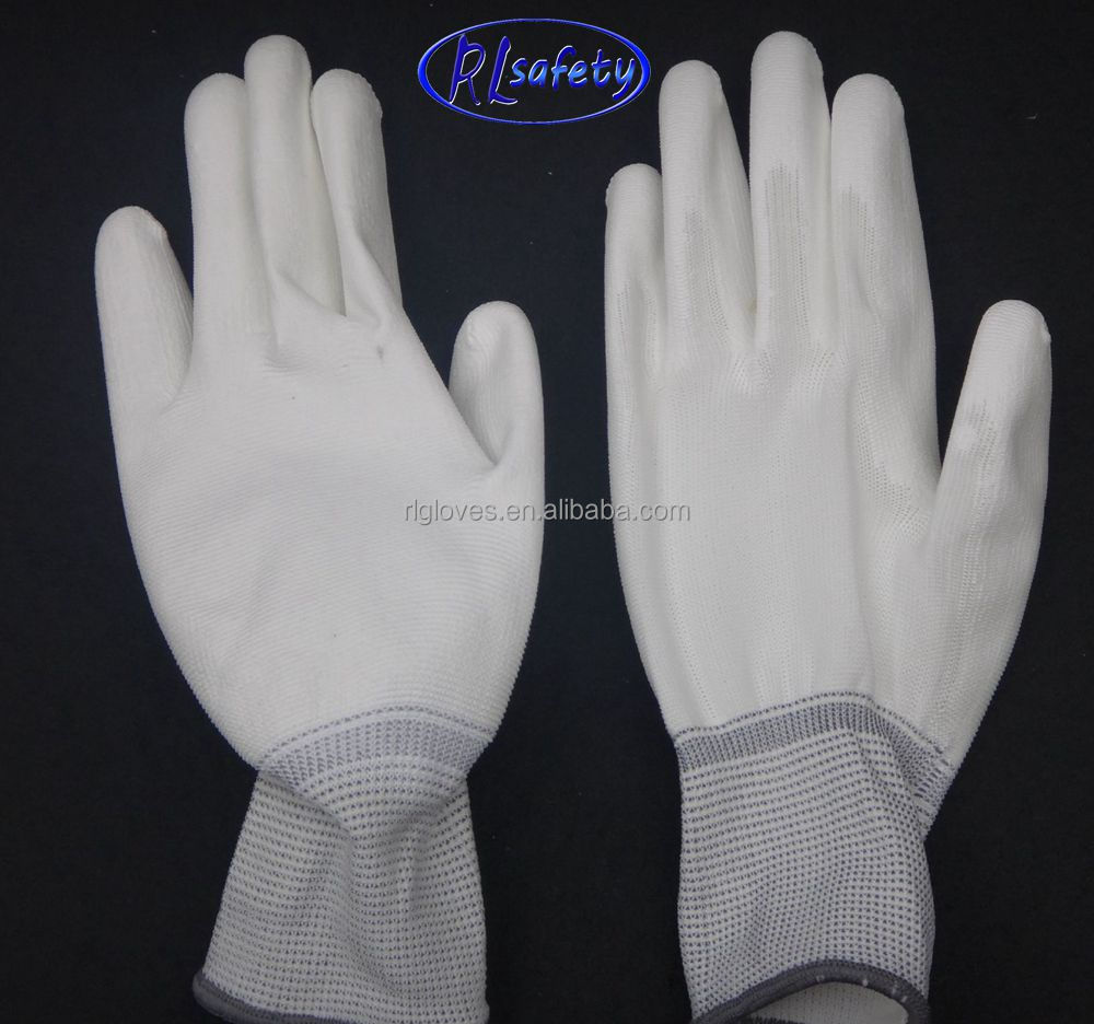 13 gauge pu coated safety work <strong>gloves</strong> white nylon <strong>gloves</strong> pu coated palm