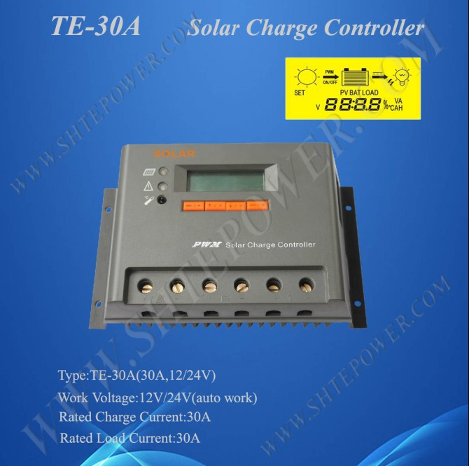Solar Power Charge Controller Regulator, PV Charge Controller 30A 12V 24V