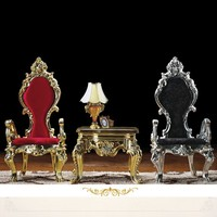 Resin Chair+ Chair+ Console Whole Set 170CM High Back Ornate Antique Chairs