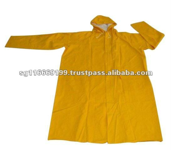 PVC Waterproof Coating Yellow Rain Coat
