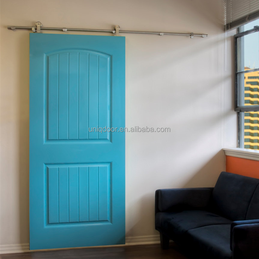 High Gloss Painted Modern Barn Door HDF Moulded Door On Track In Sky Blue