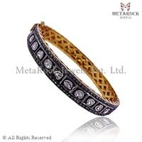 Rose Cut Diamond Bangle Bracelet 14k Yellow Gold Jewelry Handmade Women Vintage Victorian Bangle Bracelets Manufacturer