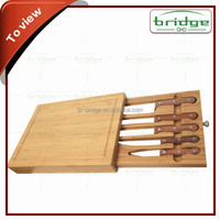 Kitchen Knife Block Set with Wooden Cutting Board Ceramic Knife with Drawer
