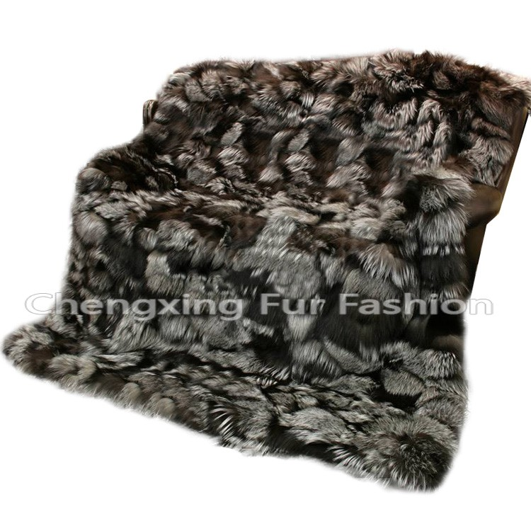 CX-D-116 Wholesale Luxury Real Silver Fox Fur Throw And Fur Blanket
