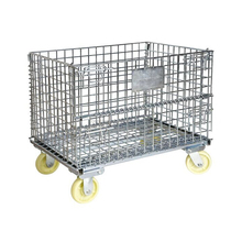 Zinc Metal Wire Container Storage Cage With Wheels