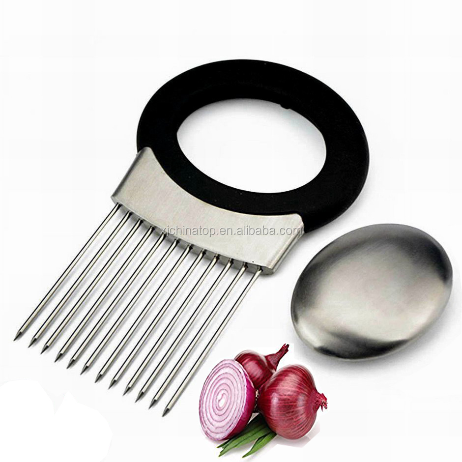 JK16108L Stainless Steel Potato Tomato Onion Slicer Holder and Odor Remover