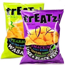 Custom printed laminated plastic back seal potato chips package bag crisps pouch
