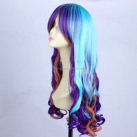 Popular Long mazarine Blue Mix color Cosplay Curly Wig