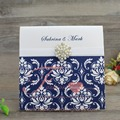 Unique Design Dramatic Middle East Navy Blue Wedding Invitation Cards with Buckle