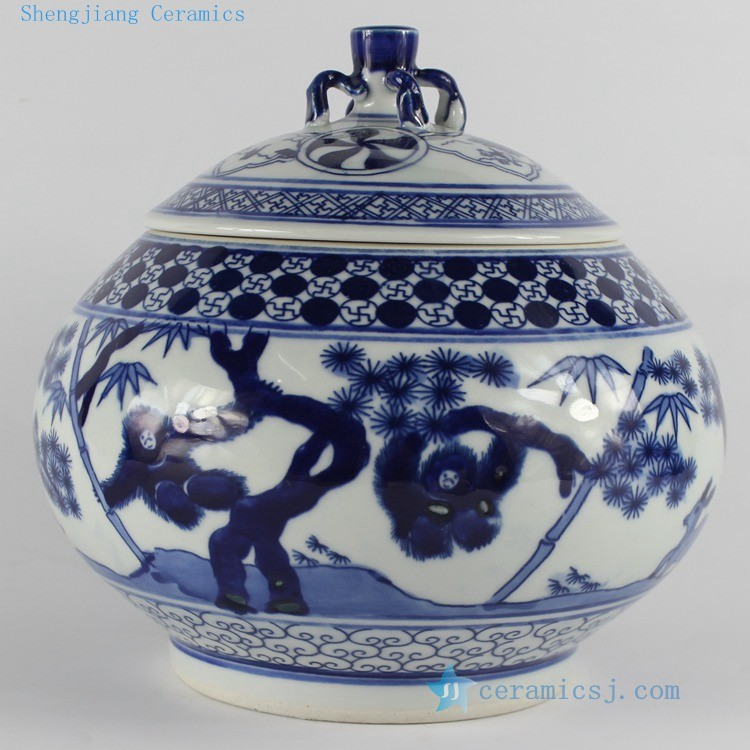 RZB01 H7.6 inch jingdezhen hand painted blue and white monkey porcelain Tea Jar