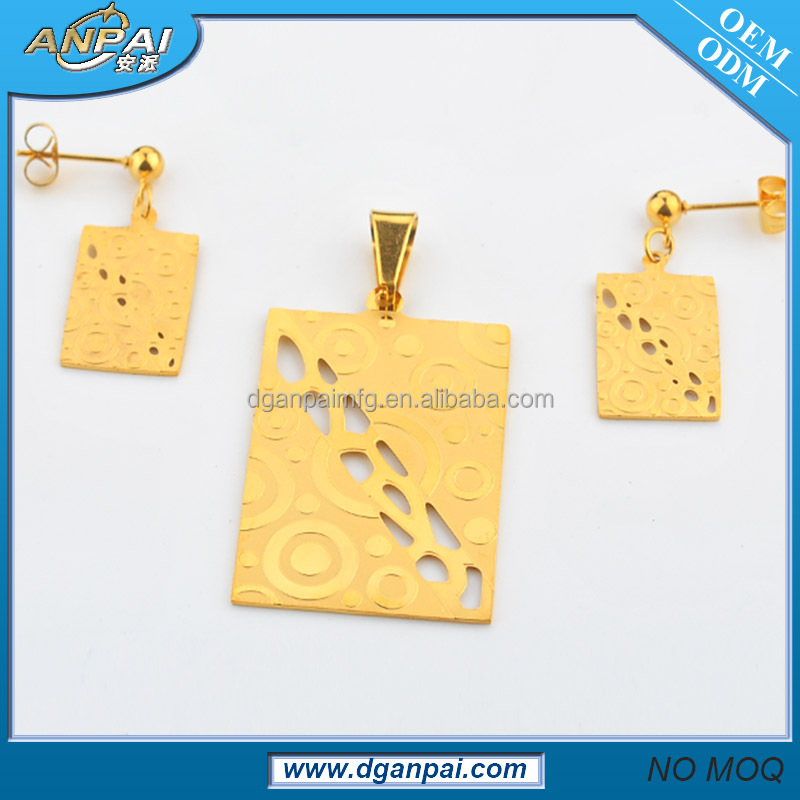 Hot sale simple hollow stainless steel jewelry sublimation blanks pendants jewelry set 18k gold