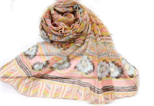 Best selling viscose lady fashion scarf OEM avaliable daisy printing voile scarf