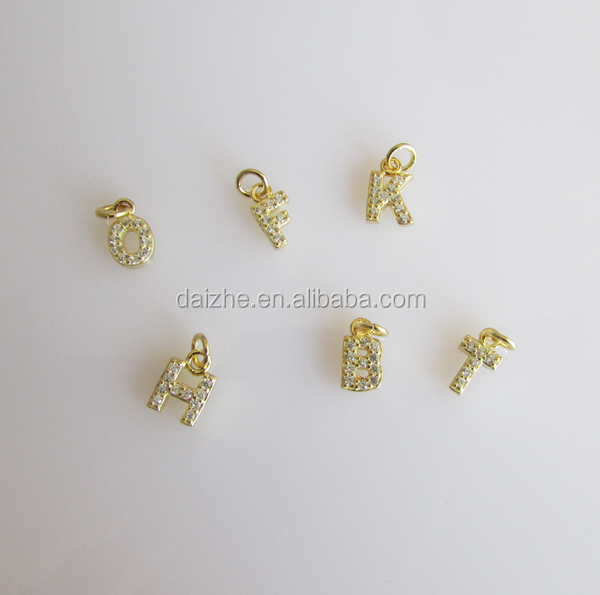 18K gold plated <strong>charm</strong> in 925 sterling silver cz paved tiny 26 alphabet initial <strong>charm</strong>