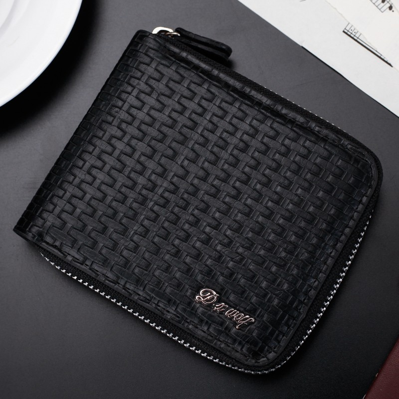 Hot Men Wallet PU Leather Quality Guarantee Short Purse with Coin Pocket Black Zipper Bag Multifunction Wholesale Wallets