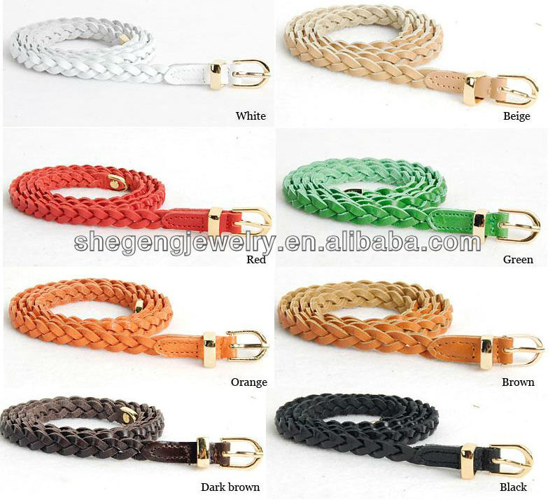 Womens Genuine Leather Braided Skinny Belts