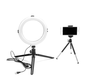 "LED Ring Light 6"" with Tripod Stand for YouTube Video and Makeup, Mini LED Camera Light with Cell Phone Holder Desktop LED Light"