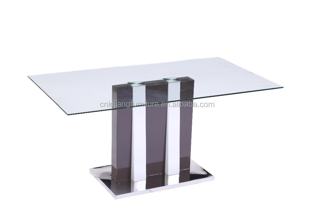 hot sale tempered glass wooden stainless steel base dining table