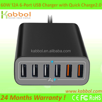 Quick charge 2.0 60W 6 ports multi charger, rapid 60Watt cell phone accessory for iPhone iPad Samsung Galaxy Google Nexus