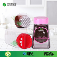 flip cap with fresh liner bulk sale spice jar with shrink film printing pet empty irregular shape clear pet plastic spice bottle