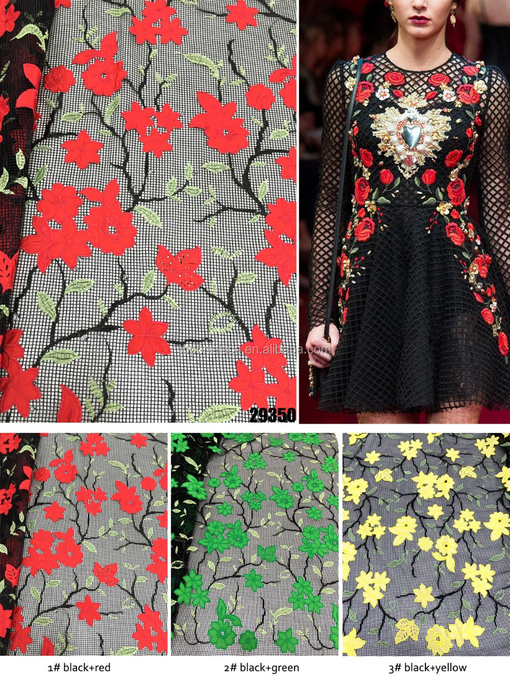 2016 In-stock Hot Sale Fashion Hollow Evening Chinese Wedding Dress Chemical Lace Embroidery Design Fabric With Red Rose Flowers