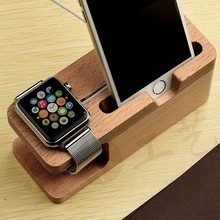 Watch Stand For i watch/iPhone Charging Holder Stand Natural Bamboo Wood Charge Station Charging Dock Cradle Stand Holders