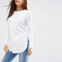 Online Shopping India Ladies Fashion Clothing Cotton Fabrics For T Shirt O-neck Plain Slim Fit Long Sleeve T Shirt Women
