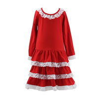 Wholesale flower children baby girl birthday dresses lace ruffle frock dress in Christmas party dresses for 8 years old girls