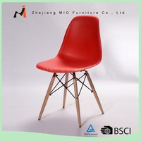 Quality-assured custom design PP seat wood legs plastic dining chair