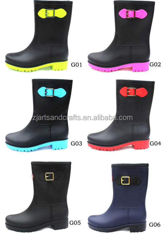 Waterproof fashion half pvc women shoes boots rain boot with buckle