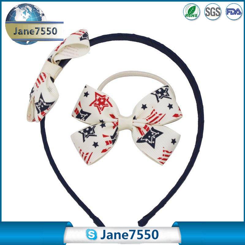 Ribbon hair bow tie headband with flag star print for kids hair accessories
