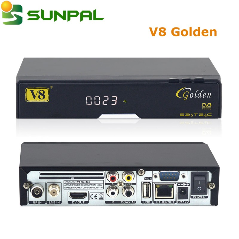 [Genuine]High Quality V8 Golden Satellite Receiver dvb s2+t2+c 1080p HD TV Box Satellite Receiver tv box