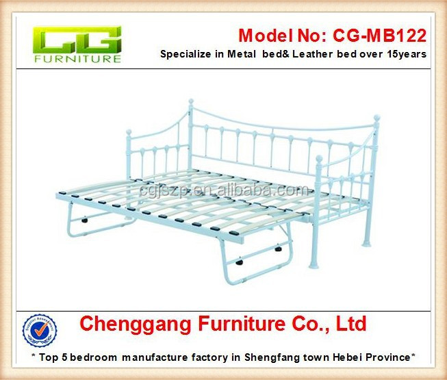 CG furniture Modern Design Wood slats base metal frame Trundle Day Bed