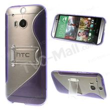 S-Curve Plastic + TPU Case Cover for HTC One (M8) w/ Kickstand